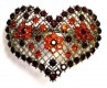 Red heart crystal barrette