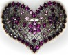 Purple crystal heart barrette